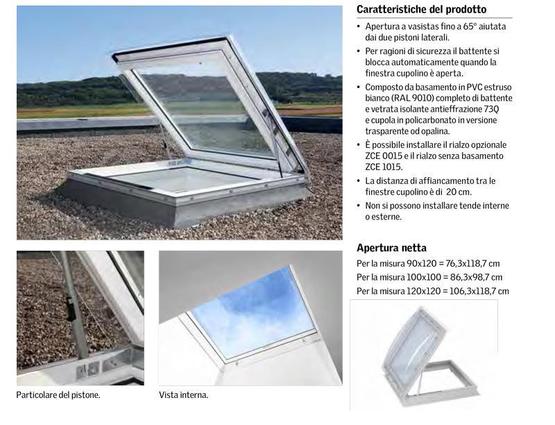 Finestra cupolino per tetti piani velux gruppo orvi - Dimensioni finestre velux ...