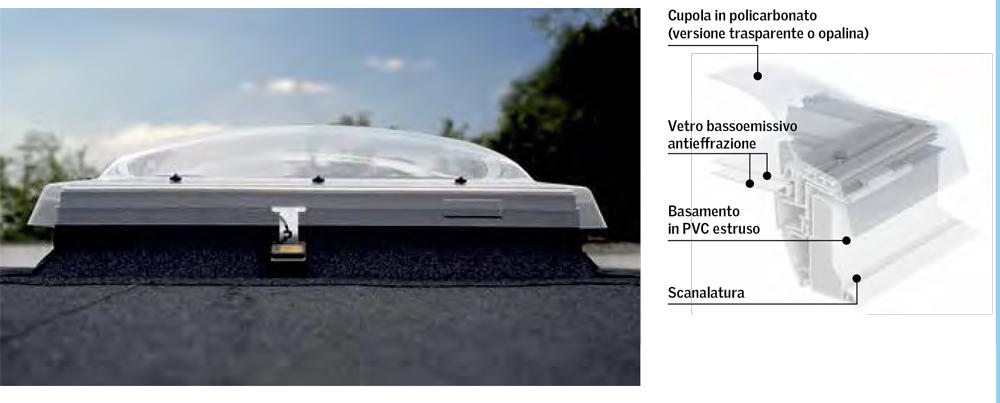 Finestra cupolino per tetti piani velux gruppo orvi for Misure lucernari per tetti