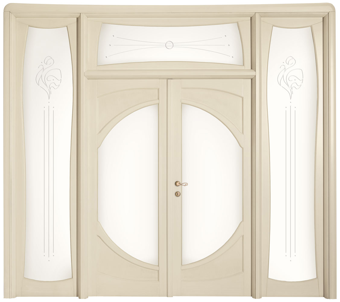Porte da interno stile liberty in legno massello - Sopraluce porta ...