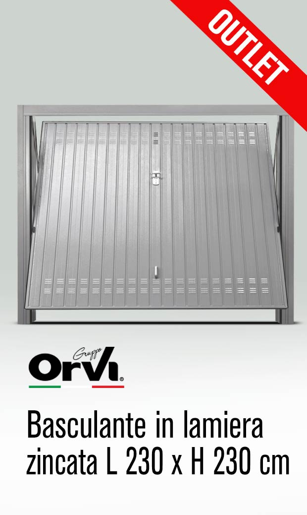 Porta basculante per box auto in lamiera zincata L 230 x H 230 in outlet da Orvi Serramenti