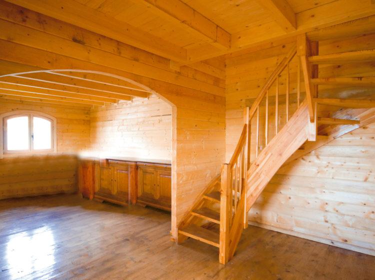 Interno abitazione in legno costruita da Officine Romane prefabbricati Roma