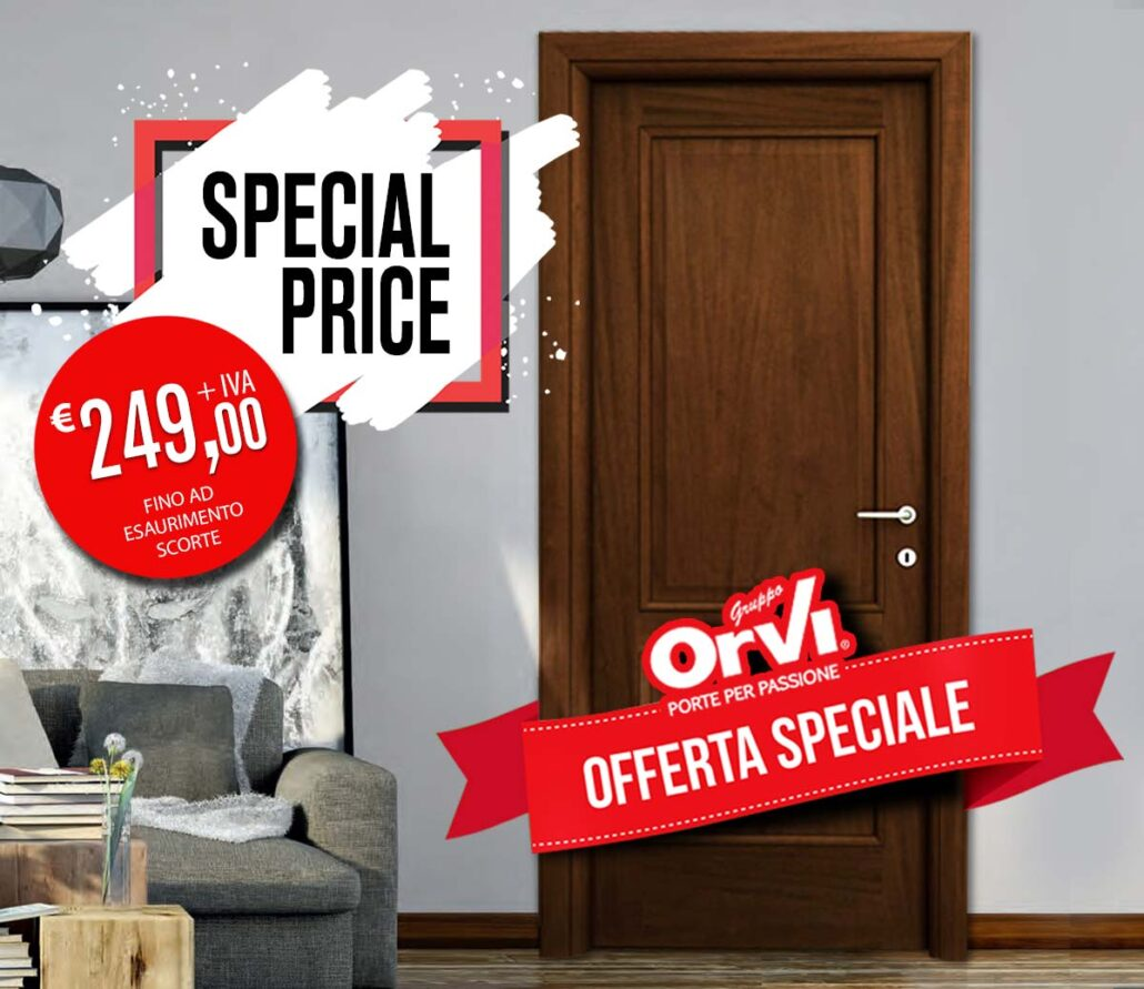 Offerta in pronta consegna, la porta modello Udine a due bugne, disponibile a Euro 249,00 + Iva