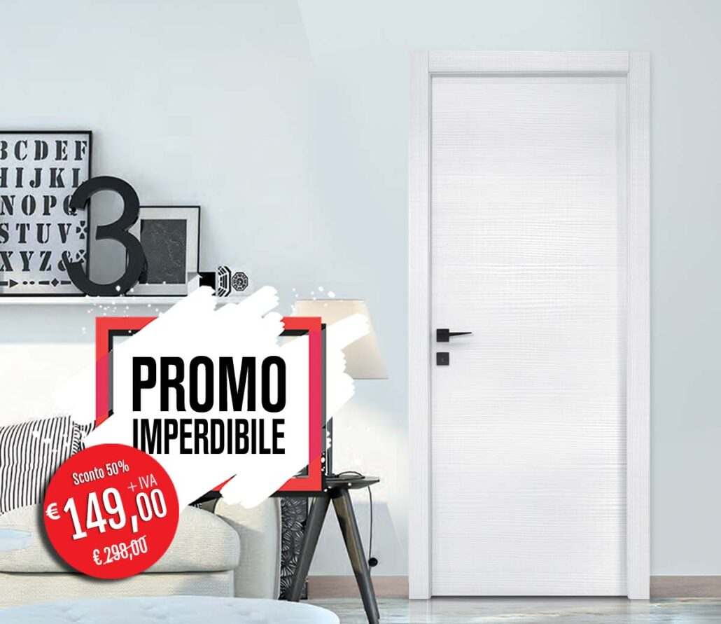 Porta da interno in bianco Lares in promo a Euro 149,00 da Orvi Serramenti Roma