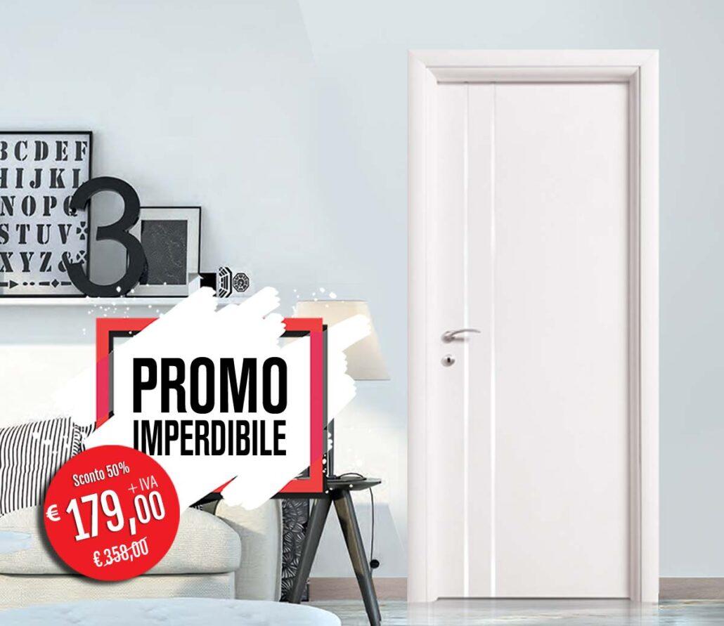Porta linear 04 colore bianco con 2 inserti verticali in alluminio